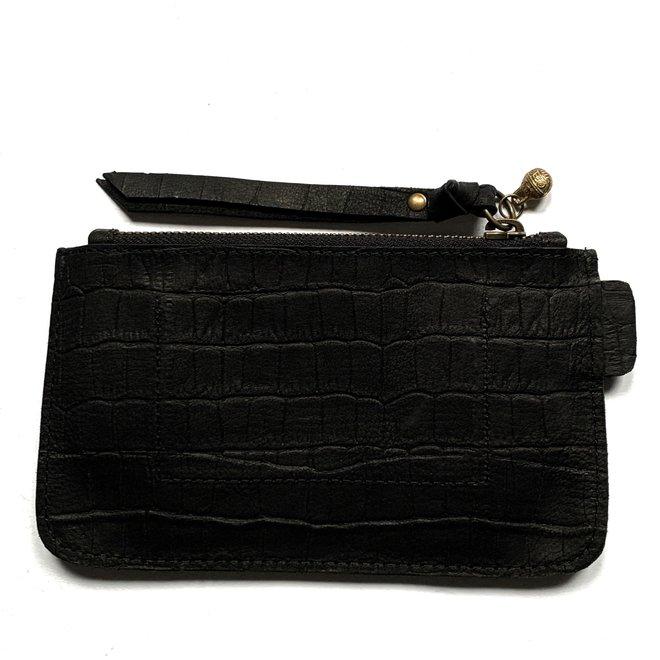 Beijing M keycordbag, black croco leather