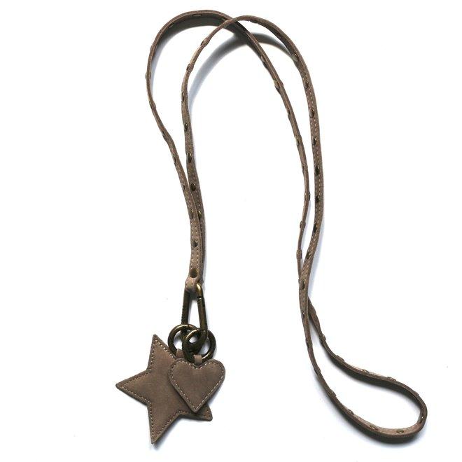 Keycord Studs sleutelkoord L, soft taupe nubuck leer