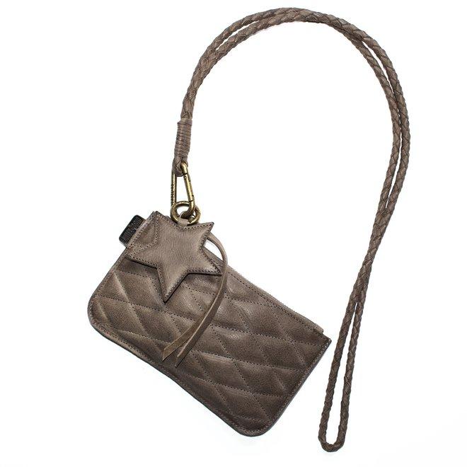 Beijing XL Stitch keycordbag crossbody set, taupe leather