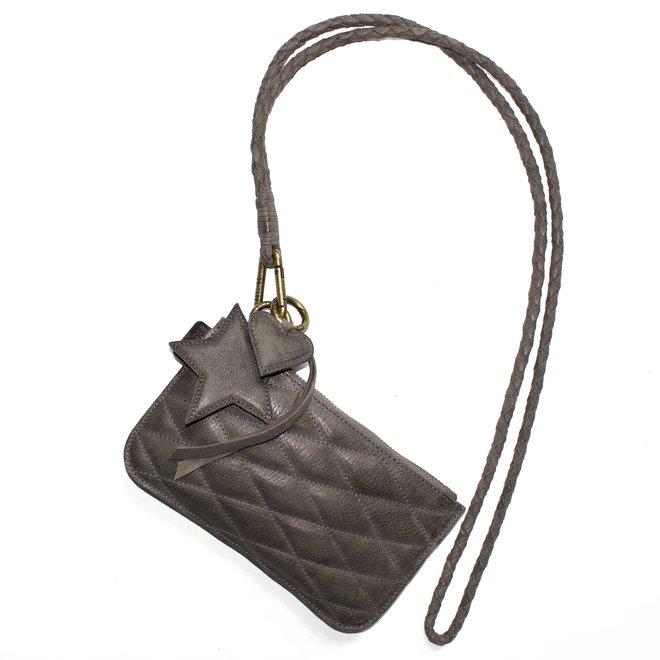 Beijing XL Stitch keycordbag crossbody set, grey leather