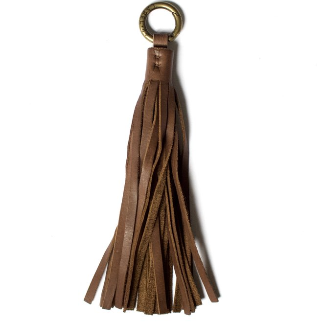 Tassel keychain, brown leather