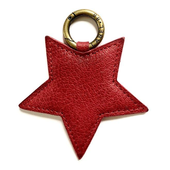 Star L keychain, dark red leather