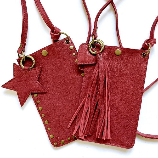 Telefoontasjes Miami XR Studs, donker rood leer