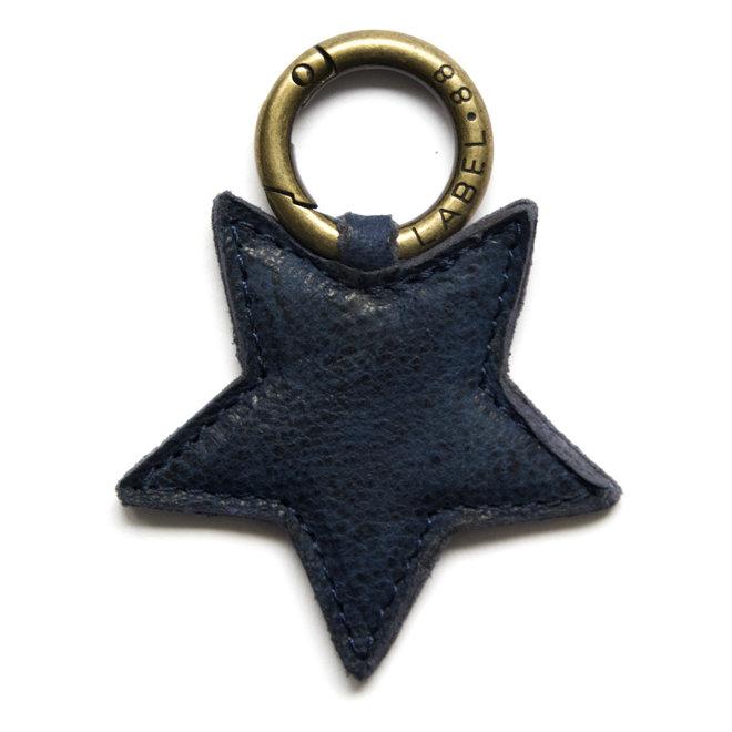 Star S keychain, indigo blue leather