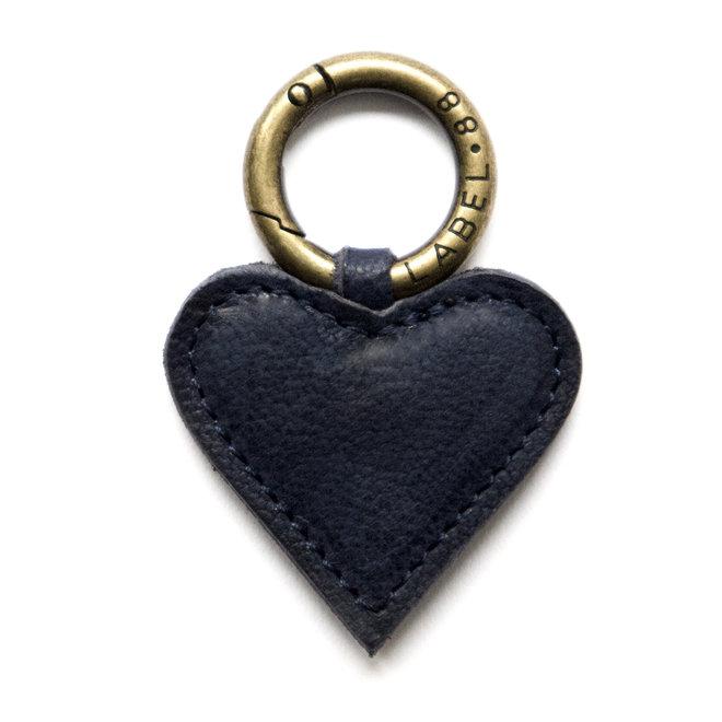 Heart S Keychain, indigo blue  leather