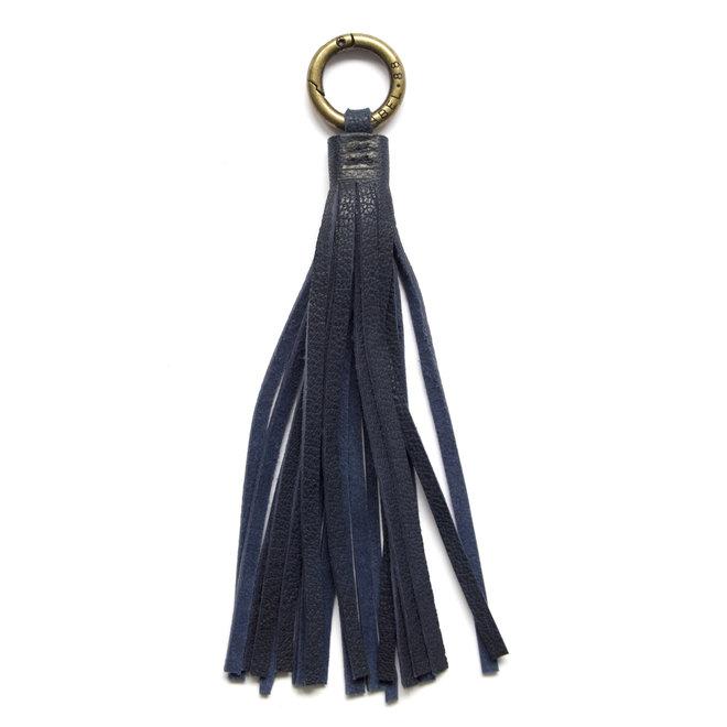Tassel keychain, indigo blauw leather