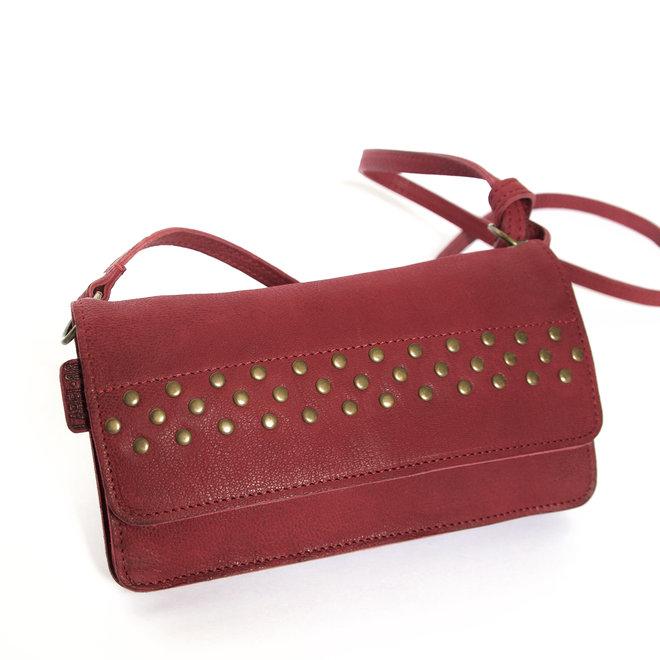 Berlin XL Studs portemonnee tas, donker rood leer