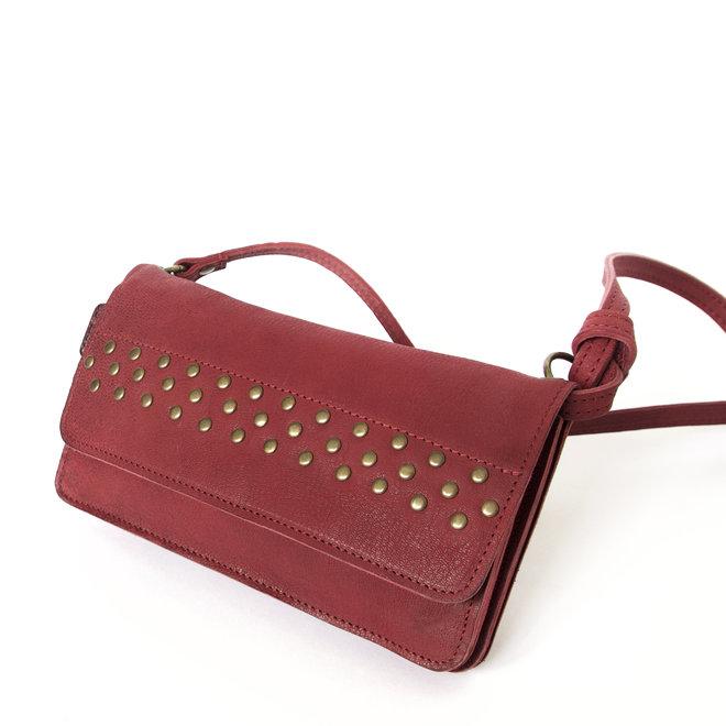 Berlin XL Studs wallet bag, dark red leather