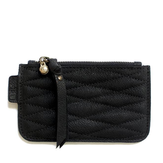 Label 88 Beijing XS Stitch portemonneetje, zwart leer