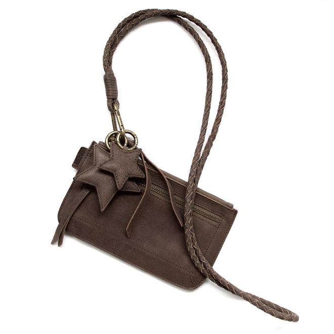 Beijing Zipper keycordtas crossbody set, bruin leer