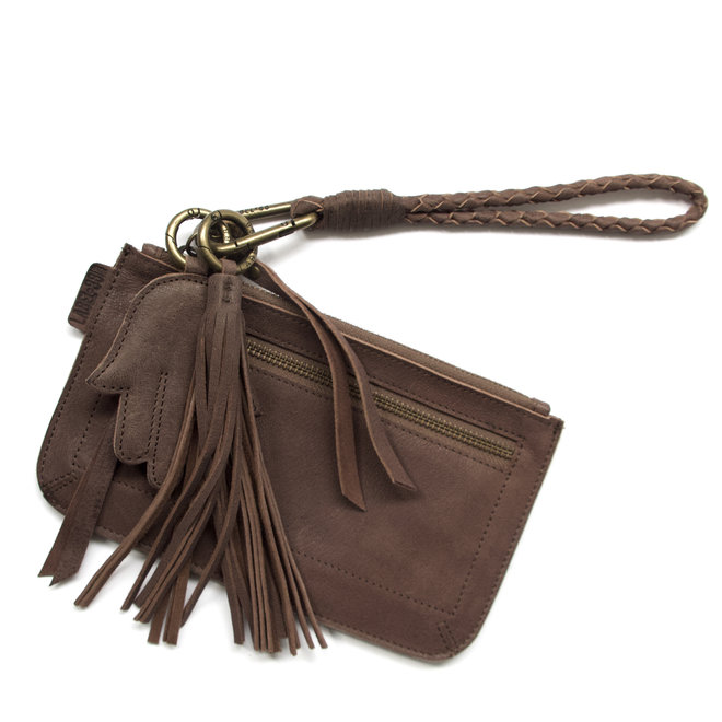 Beijing Zipper keycordbag clutch set, brown leather