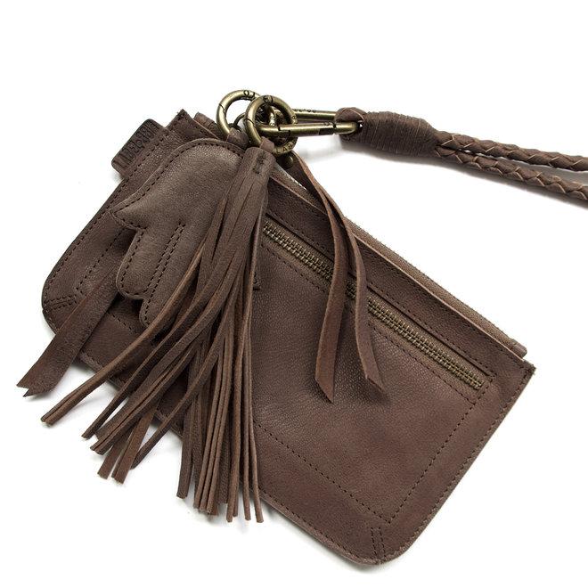Beijing Zipper keycordtas clutch set, bruin leer