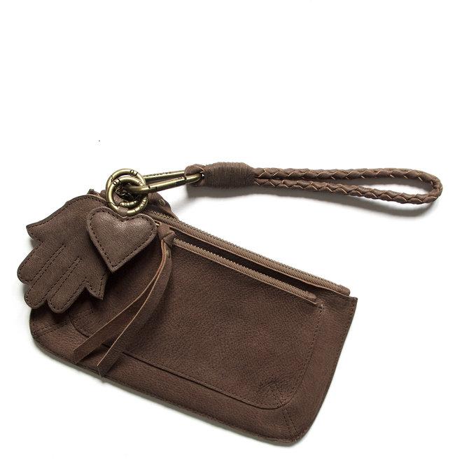 Beijing Pocket keycordtas clutch set, bruin leer