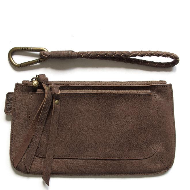 Beijing Pocket keycordbag clutch set, brown leather
