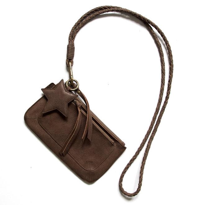 Beijing Pocket keycordtas crossbody set, bruin leer