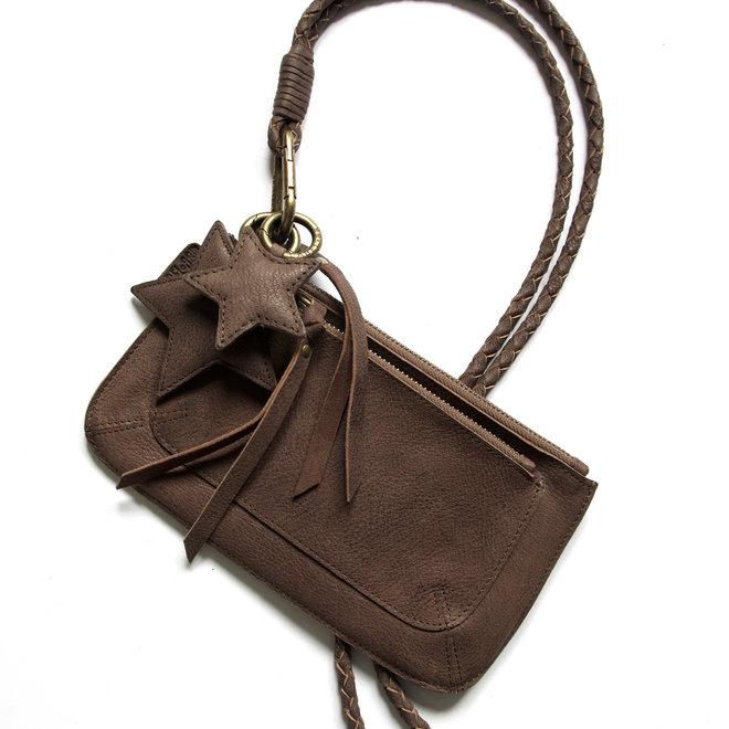 Beijing Pocket keycordbag crossbody set, brown leather