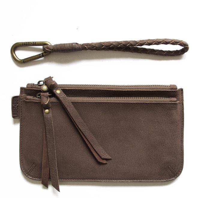 Beijing Zipper 2 keycordtas clutch set, bruin