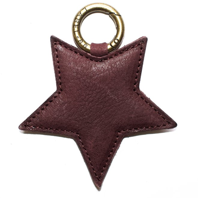 Star L keychain, wine  red leather
