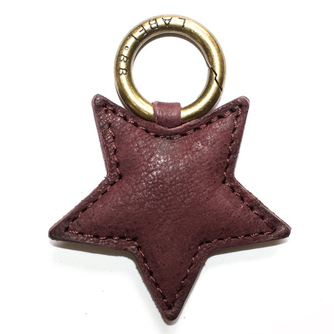 Star S keychain, wine red leather