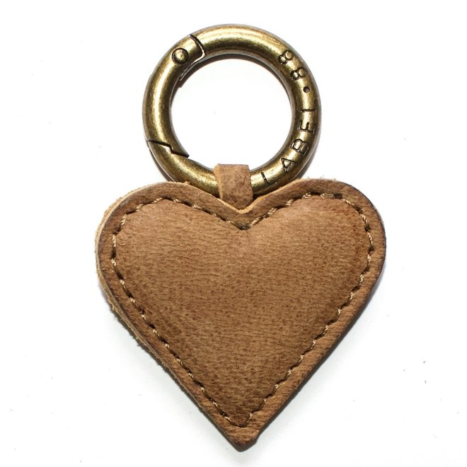 Heart S Keychain, yellow leather