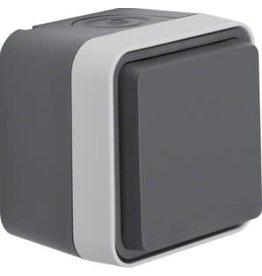 Hager Wandcontactdoos 1voudig grijs IP55