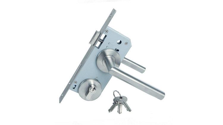 Cilinderslotset rvs (ook voor deurframe met slotkast) MET ROZETTEN (alles rvs uitgezonderd kast en cilinder)
