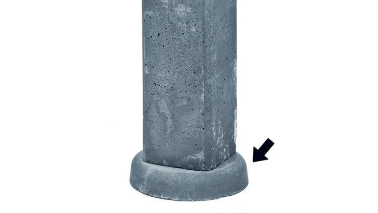 Vulblokje antraciet om gladde plaat op hoogte te brengen bij sleufpaal