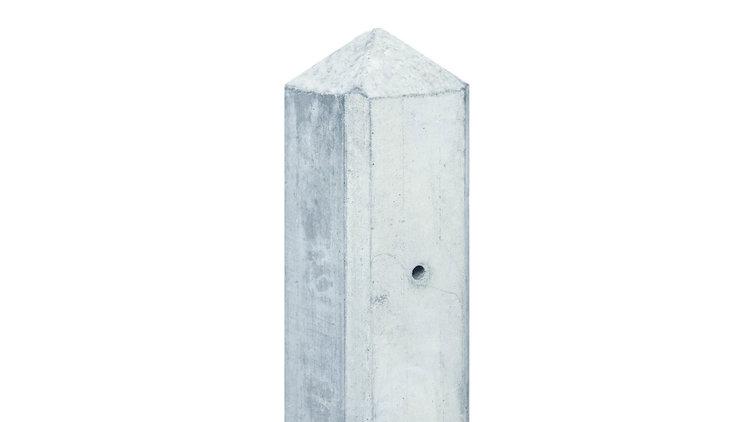 Tuinhek tussenpaal wit/grijs voor 2 glad of motief plaat (met diamantkop)