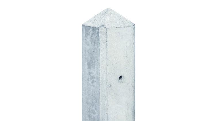 Eindpaal wit/grijs glad met diamantkop