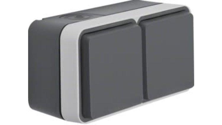 Wandcontactdoos dubbel grijs