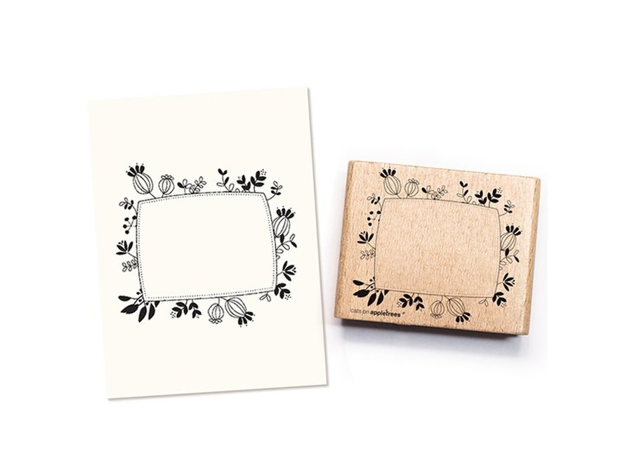Etikettenstempel floral (Rechteck) 2368