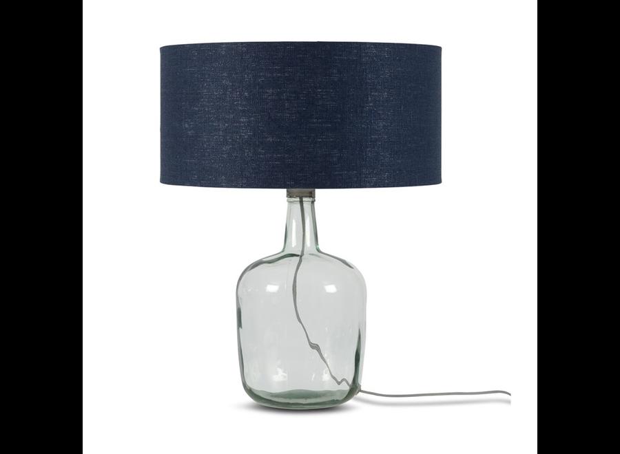 Tafellamp Murano L blauw  bamboe