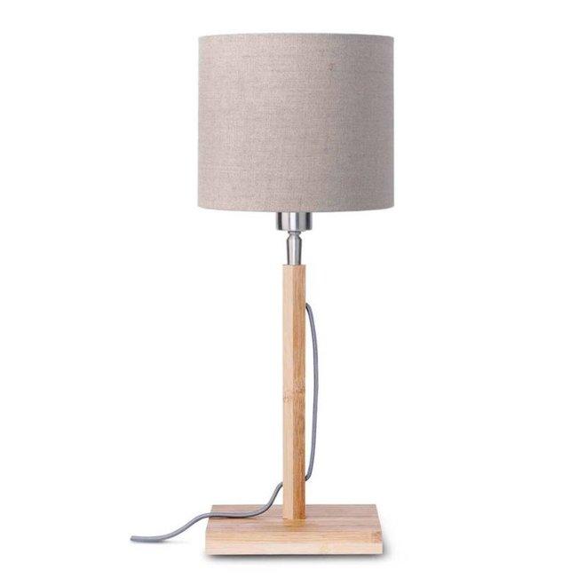 Tafellamp Fuji donker linnen  bamboe