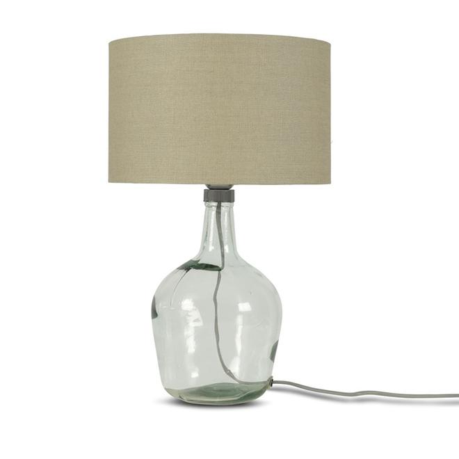 Tafellamp Murano glas S donker linnen  bamboe