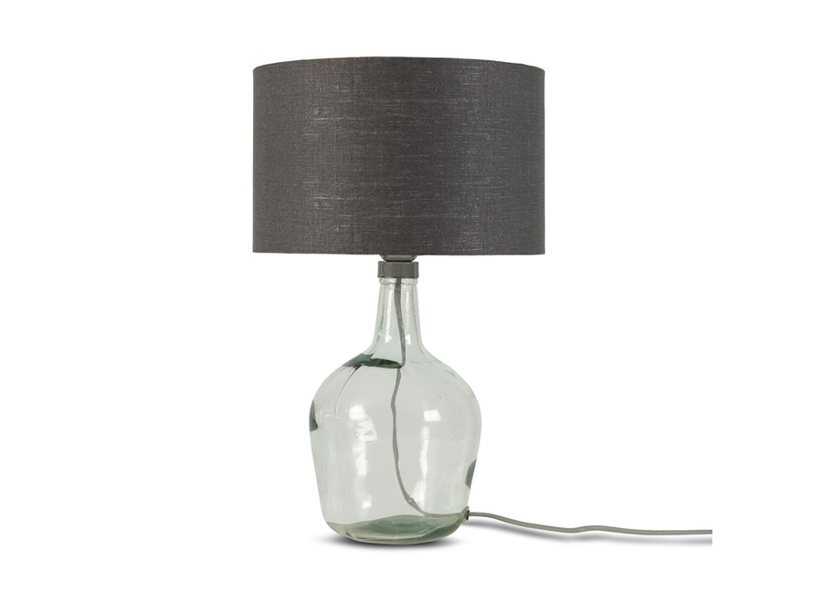 Tafellamp Murano glas S donkergrijs  bamboe