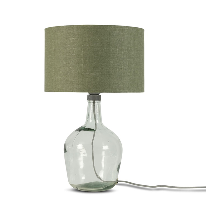 Tafellamp Murano glas S groen  bamboe