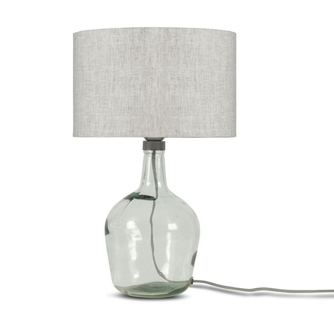 Tafellamp Murano glas S licht linnen  bamboe