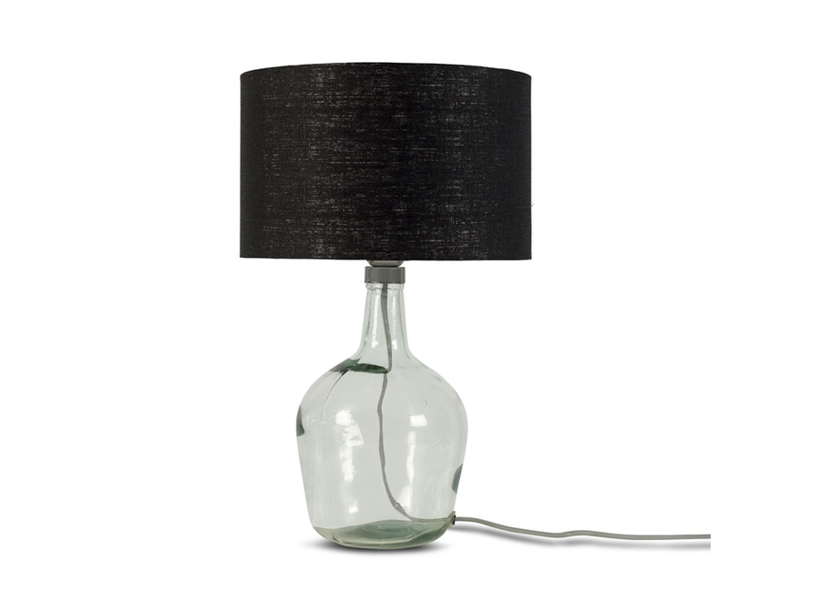 Tafellamp Murano glas S zwart  bamboe