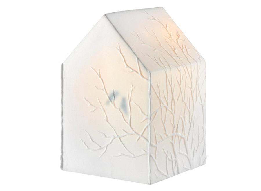 Tafellamp Huis Porselein met 2 vogeltjes