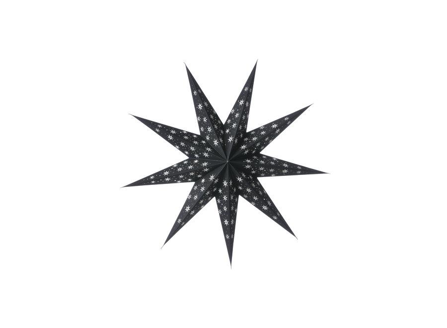 Papieren ster Cassiopeia zwart 60 cm