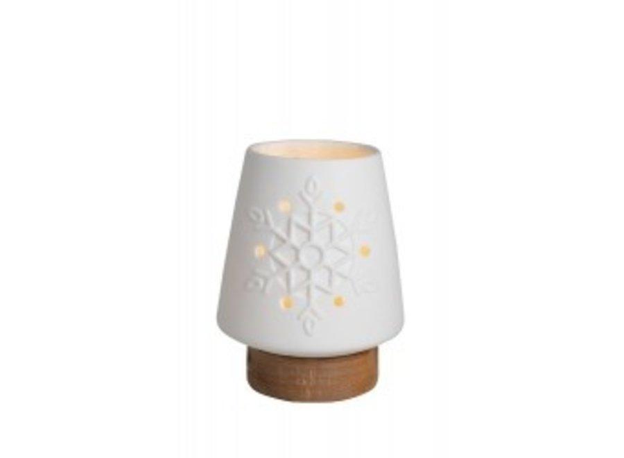 Waxinelicht hout met porseleinen kapje S