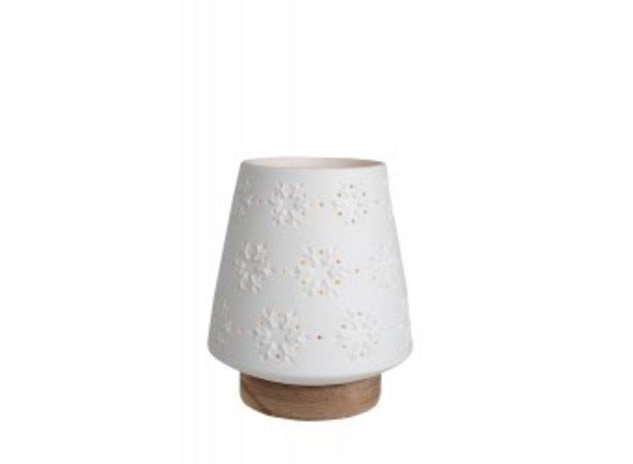 Waxinelicht hout met porseleinen kapje M