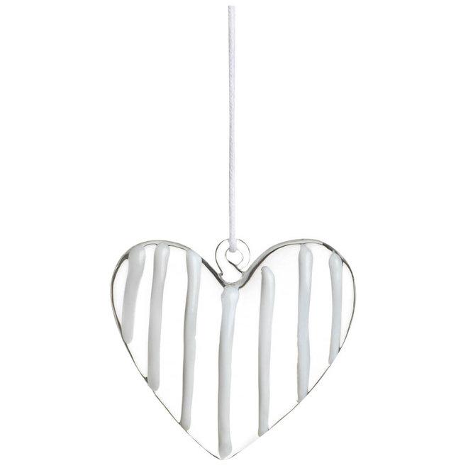 Glass heart hanger white, small
