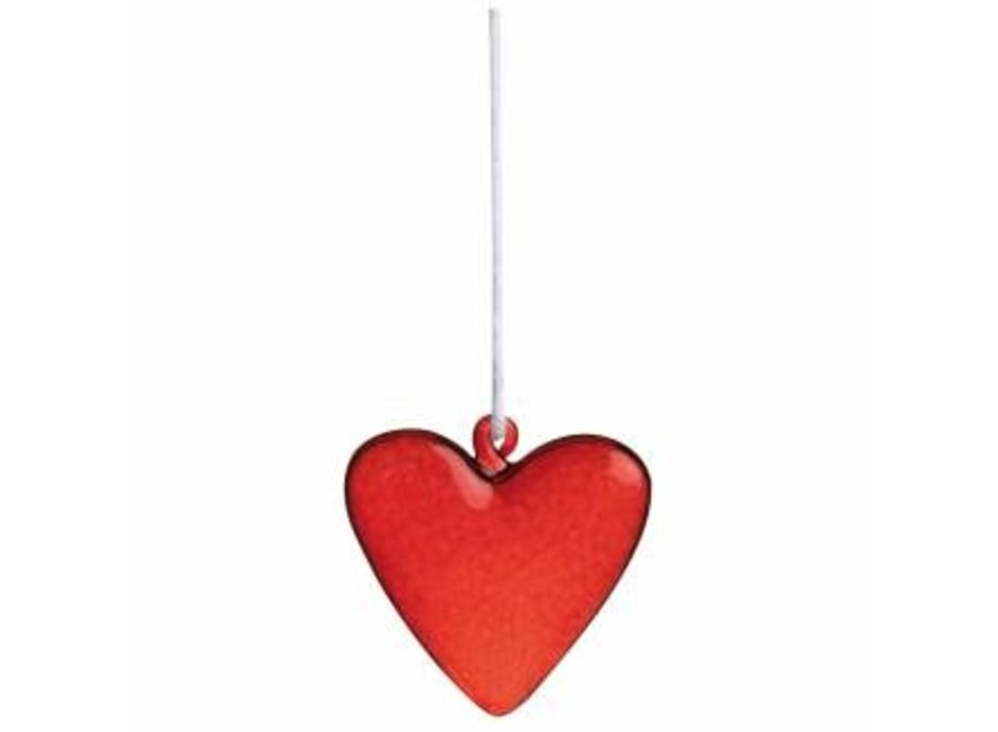 Glass heart hanger red, small