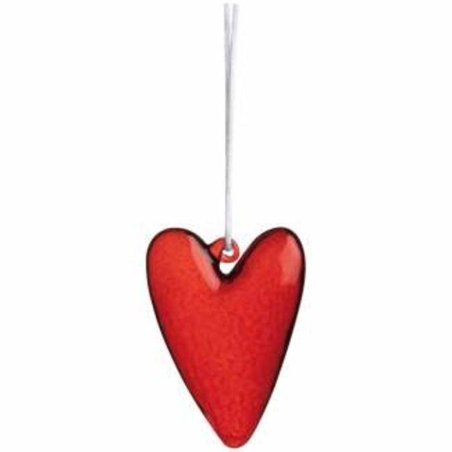 Glass heart hanger red, large