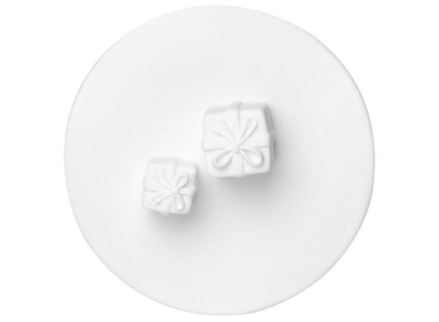 Voorraadpot van glas met porselein deksel-gift