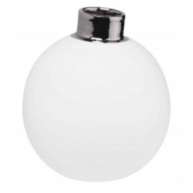 Porselein sneeuwbal vaasje - Zilver - Large