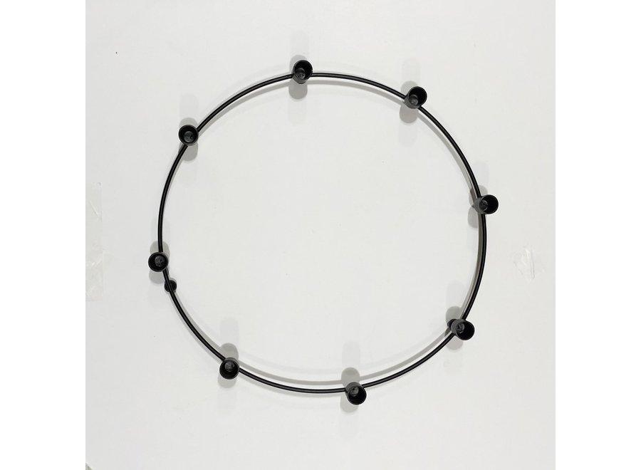 Kaarsen krans - dunne kaarsjes - Zwart