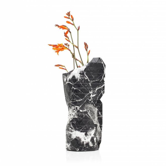 Paper Vase Cover SMALL Marble Black