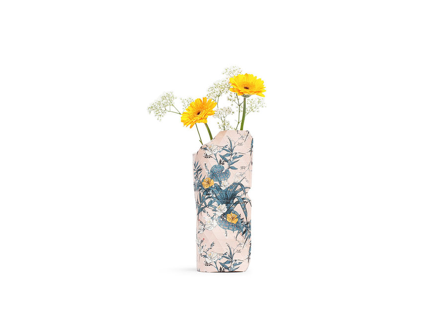 Paper Vase Cover SMALL Pink Flowers